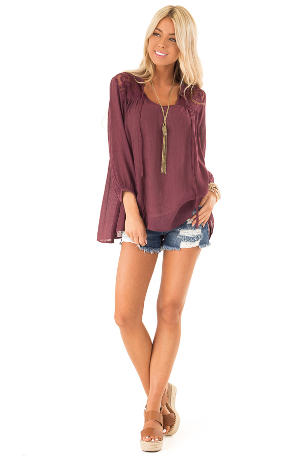 Burgundy 3/4 Sleeve Peasant Top with Lace Yoke and Tie front full body
