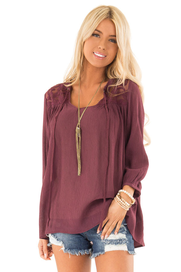 Burgundy 3/4 Sleeve Peasant Top with Lace Yoke and Tie front close up