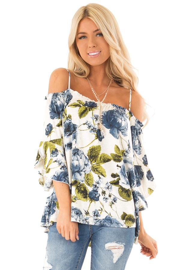 Ivory and Sapphire Blue Off the Shoulder 3/4 Sleeve Top front close up
