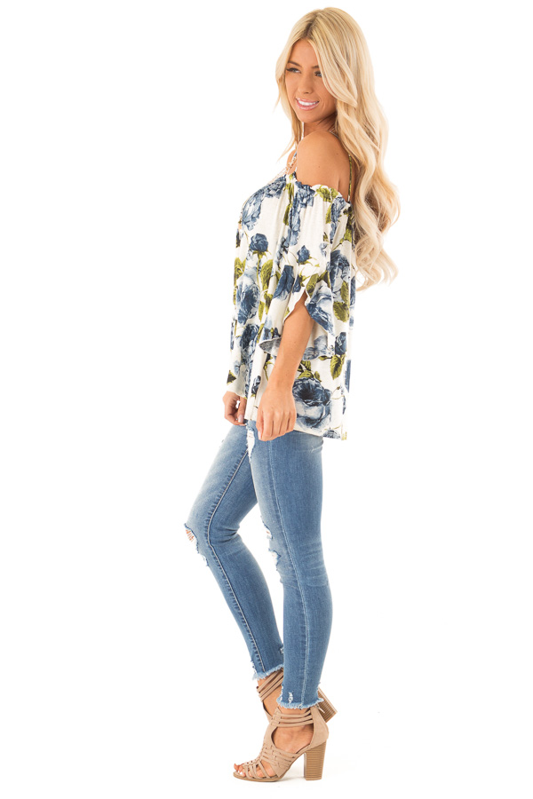 Ivory and Sapphire Blue Off the Shoulder 3/4 Sleeve Top side full body