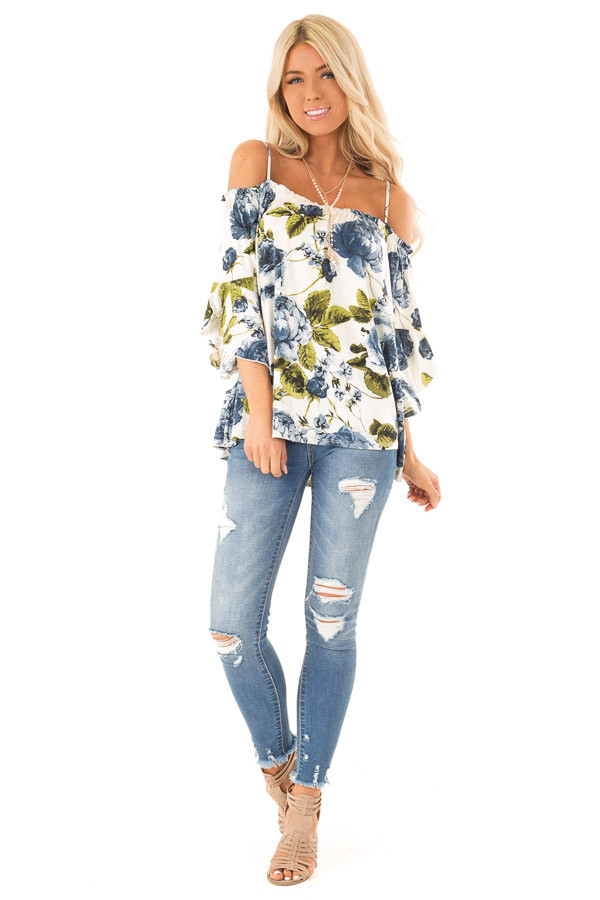 Ivory and Sapphire Blue Off the Shoulder 3/4 Sleeve Top front full body