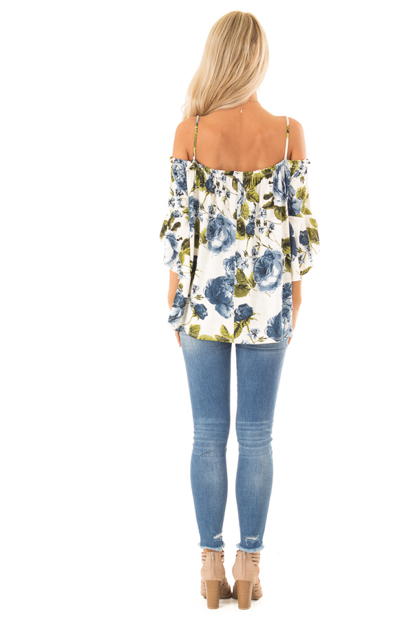 Ivory and Sapphire Blue Off the Shoulder 3/4 Sleeve Top back full body
