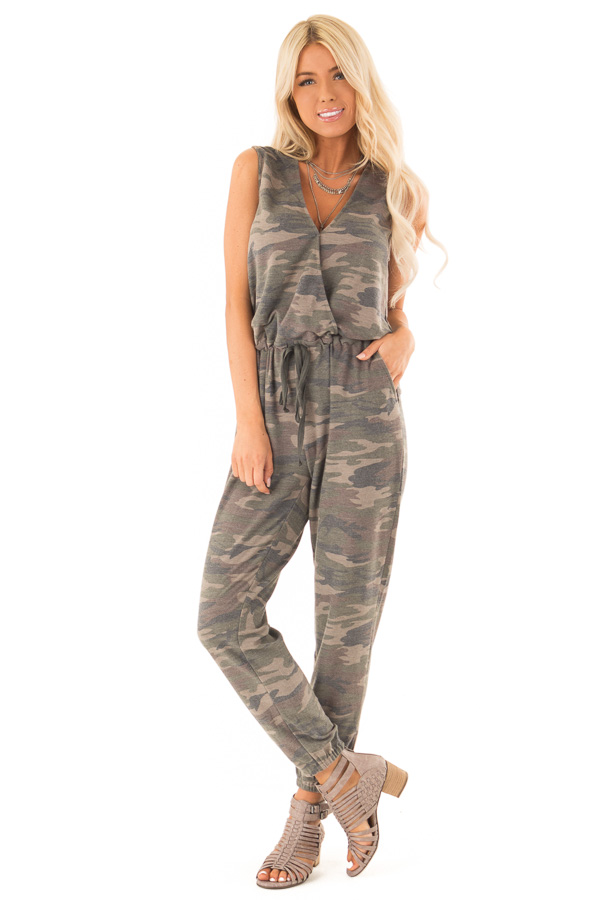 Faded Olive Camo Print Surplice Jumpsuit with Side Pockets front full body