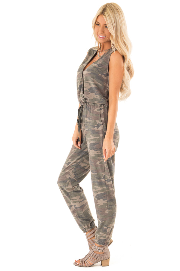 Faded Olive Camo Print Surplice Jumpsuit with Side Pockets side full body