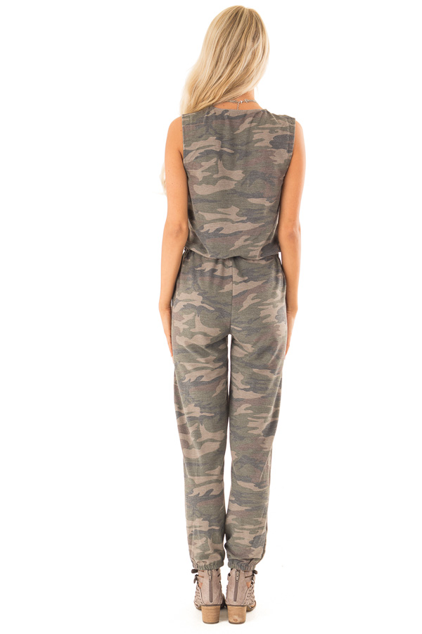 Faded Olive Camo Print Surplice Jumpsuit with Side Pockets back full body