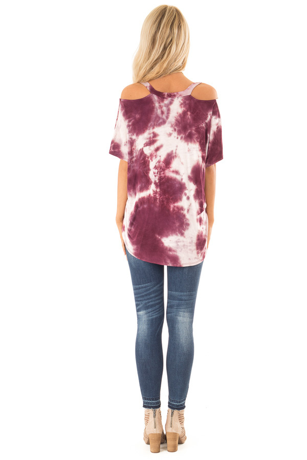 Faded Sangria Tie Dye Knit V Neck Top with Cold Shoulders back full body