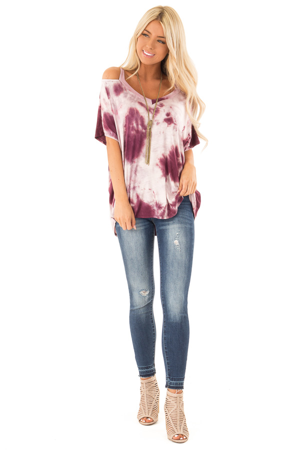 Faded Sangria Tie Dye Knit V Neck Top with Cold Shoulders front full body