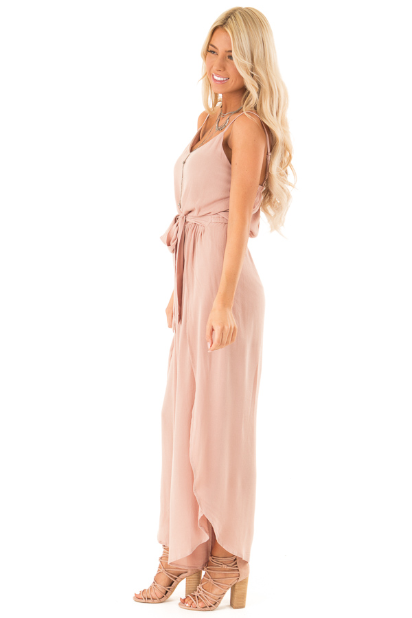 Dusty Rose Sleeveless Jumpsuit with Leg Slits and Back Tie side full body