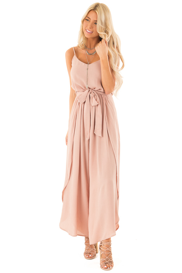 Dusty Rose Sleeveless Jumpsuit with Leg Slits and Back Tie front full body