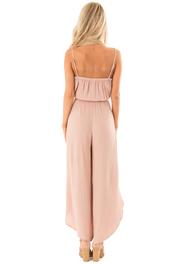 Dusty Rose Sleeveless Jumpsuit with Leg Slits and Back Tie back full body