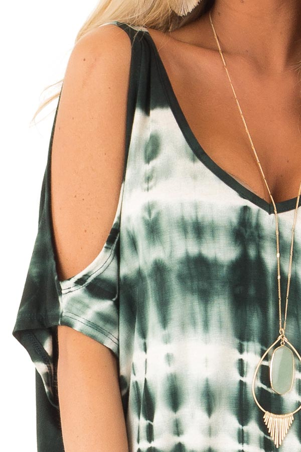 Forest Green Tie Dye Cold Shoulder Top with Open Back Detail detail