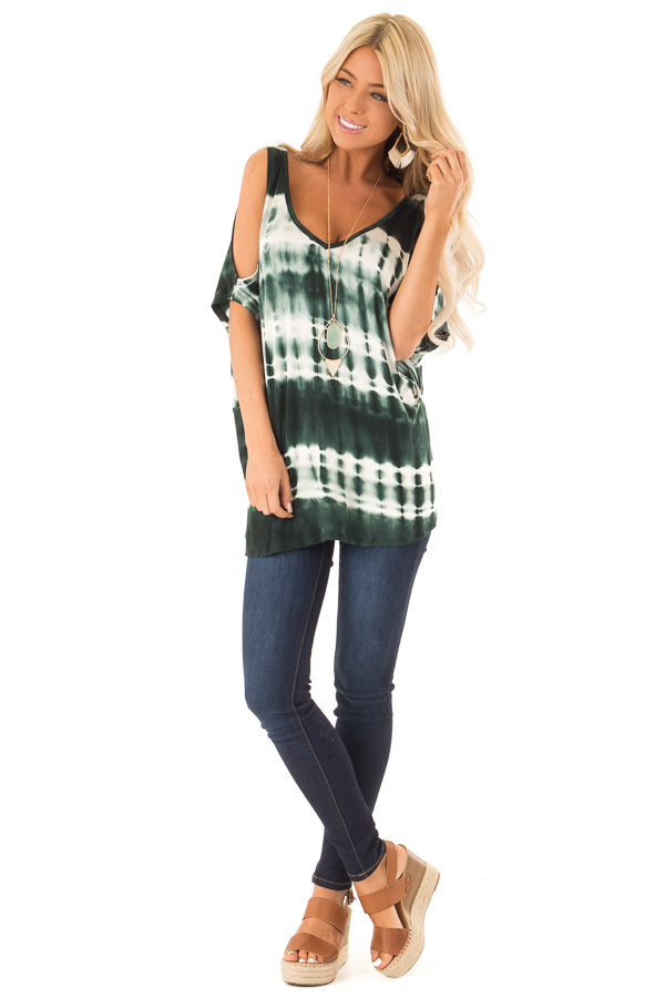Forest Green Tie Dye Cold Shoulder Top with Open Back Detail front full body
