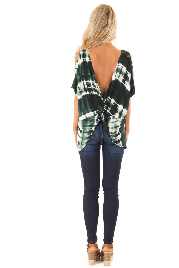 Forest Green Tie Dye Cold Shoulder Top with Open Back Detail back full body