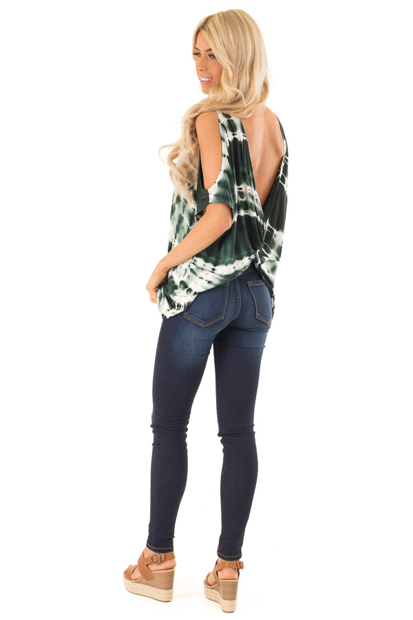 Forest Green Tie Dye Cold Shoulder Top with Open Back Detail side full body