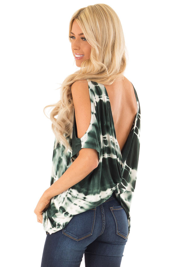 Forest Green Tie Dye Cold Shoulder Top with Open Back Detail side close up