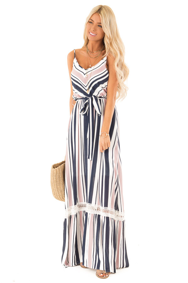 Blush and Navy Striped Spaghetti Strap Maxi Dress with Tie front full body