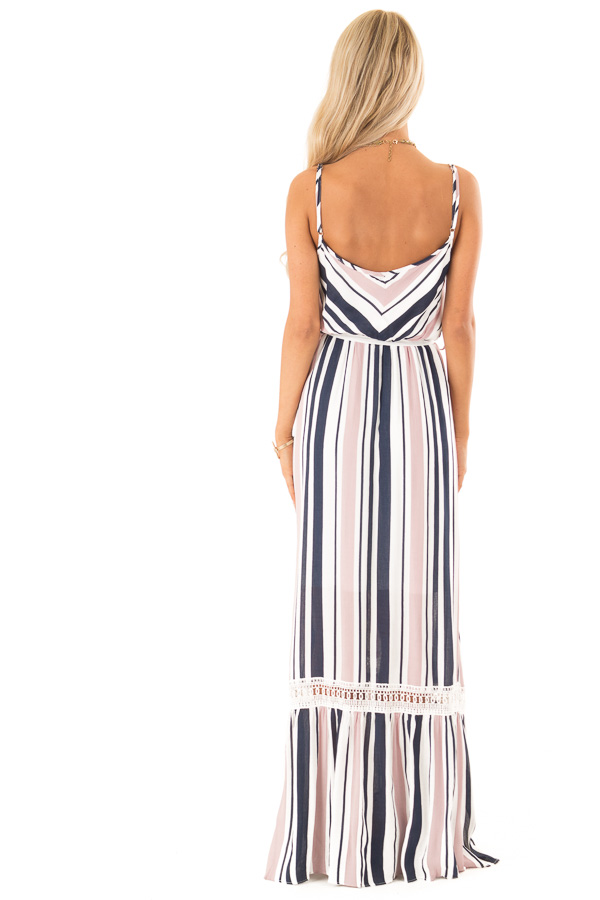 Blush and Navy Striped Spaghetti Strap Maxi Dress with Tie back full body
