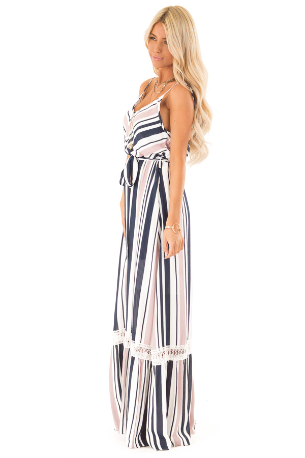 Blush and Navy Striped Spaghetti Strap Maxi Dress with Tie side full body