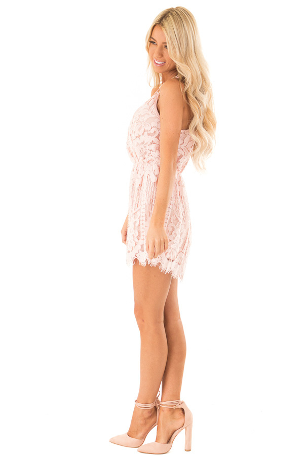 Baby Pink Lace Surplice Romper with Spaghetti Straps side full body
