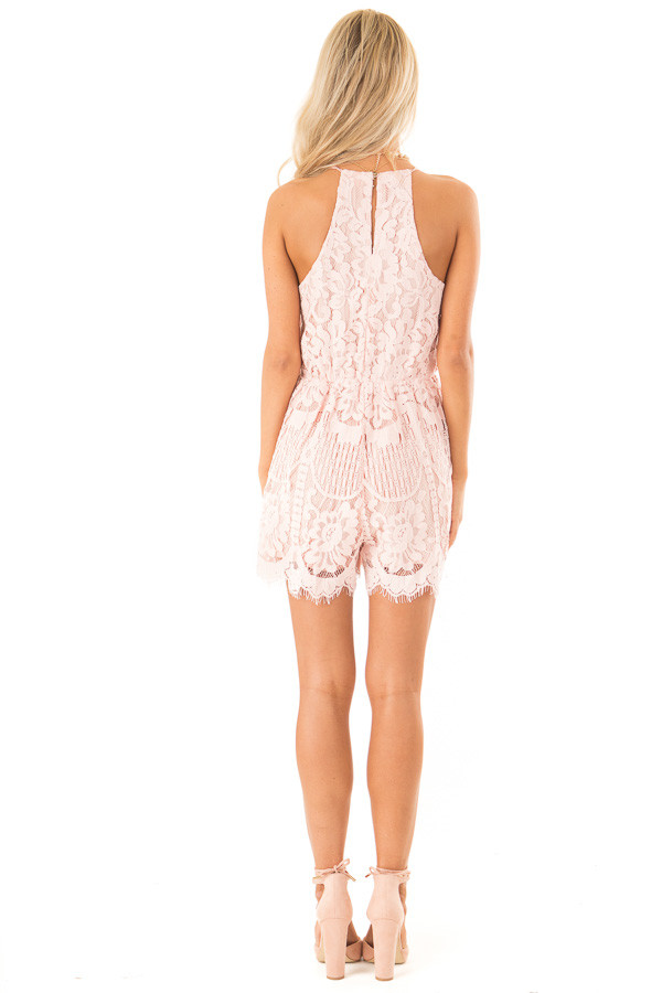 Baby Pink Lace Surplice Romper with Spaghetti Straps back full body