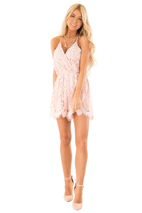 Baby Pink Lace Surplice Romper with Spaghetti Straps front full body