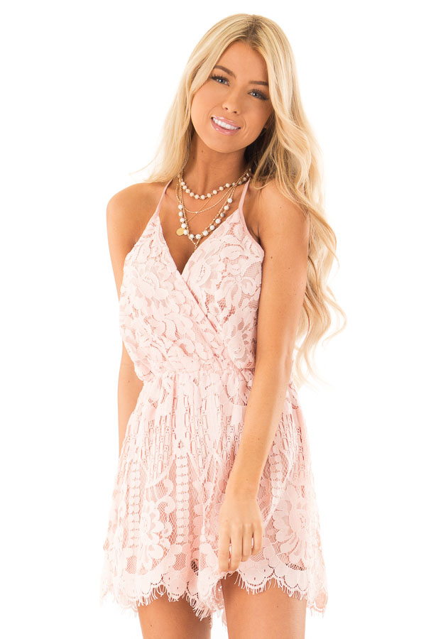 Baby Pink Lace Surplice Romper with Spaghetti Straps front close up