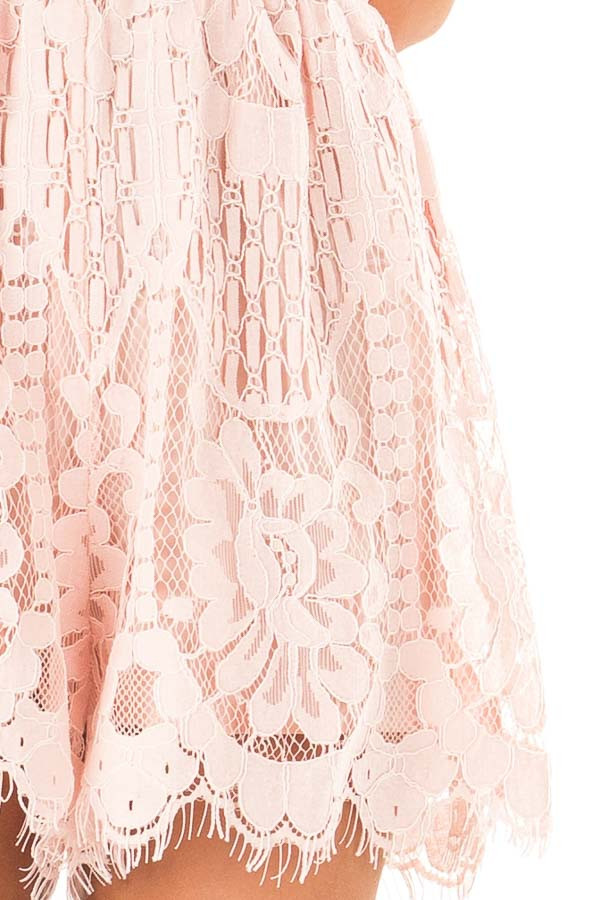 Baby Pink Lace Surplice Romper with Spaghetti Straps detail