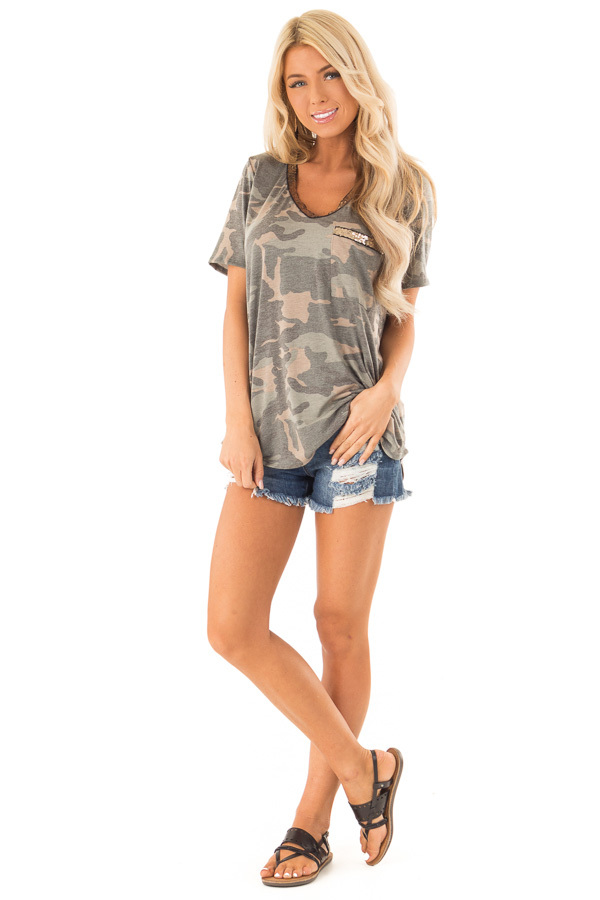 Army Green Camo Print V Neck Short Sleeve Tee with Sequins front full body