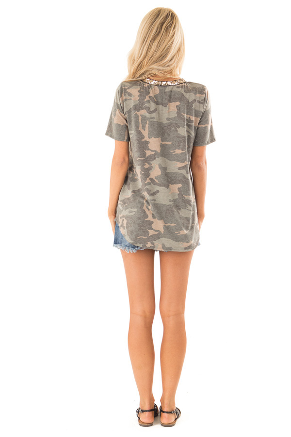 Army Green Camo Print V Neck Short Sleeve Tee with Sequins back full body