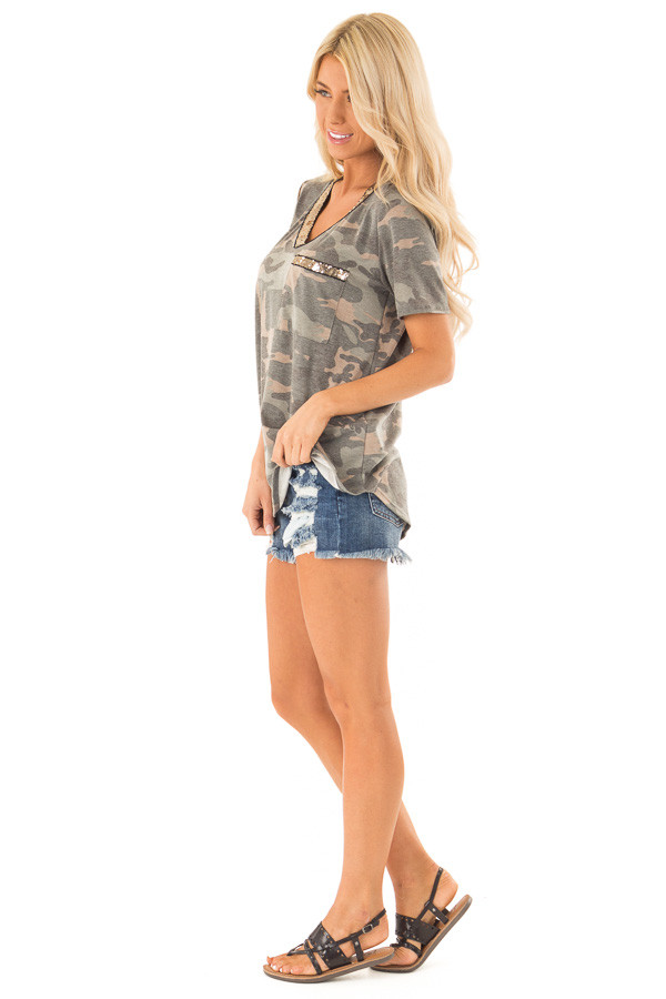 Army Green Camo Print V Neck Short Sleeve Tee with Sequins side full body