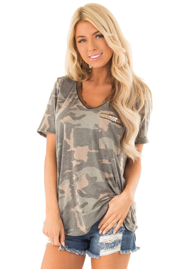 Army Green Camo Print V Neck Short Sleeve Tee with Sequins front close up