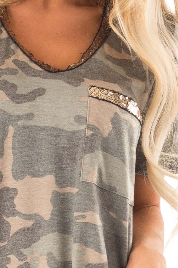 Army Green Camo Print V Neck Short Sleeve Tee with Sequins detail