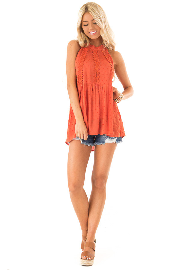 Rust High Neck Tank Top with Swiss Dot and Lace Details front full body