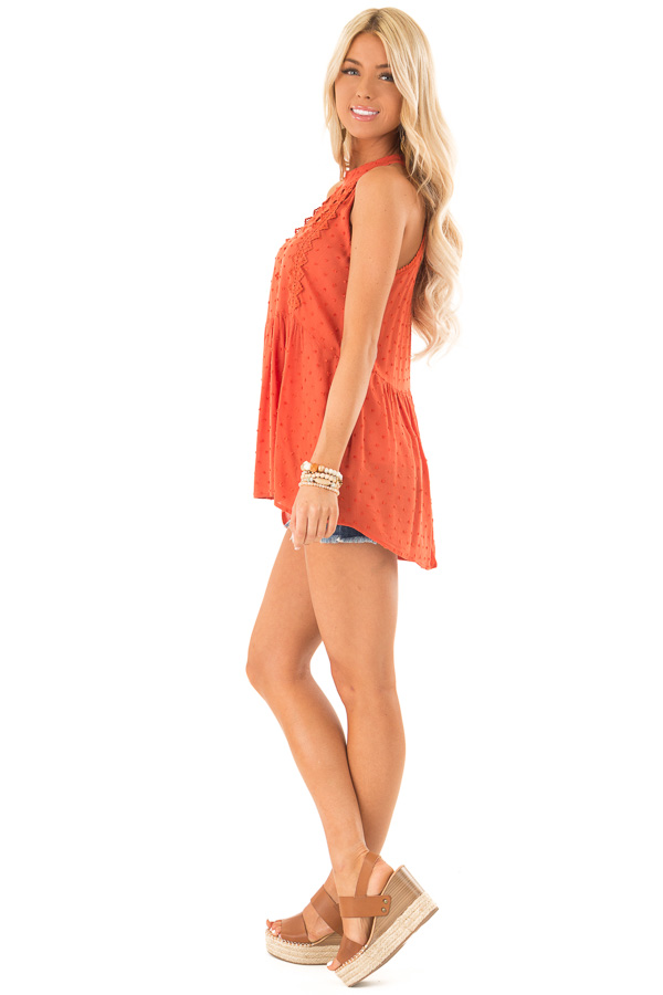 Rust High Neck Tank Top with Swiss Dot and Lace Details side full body