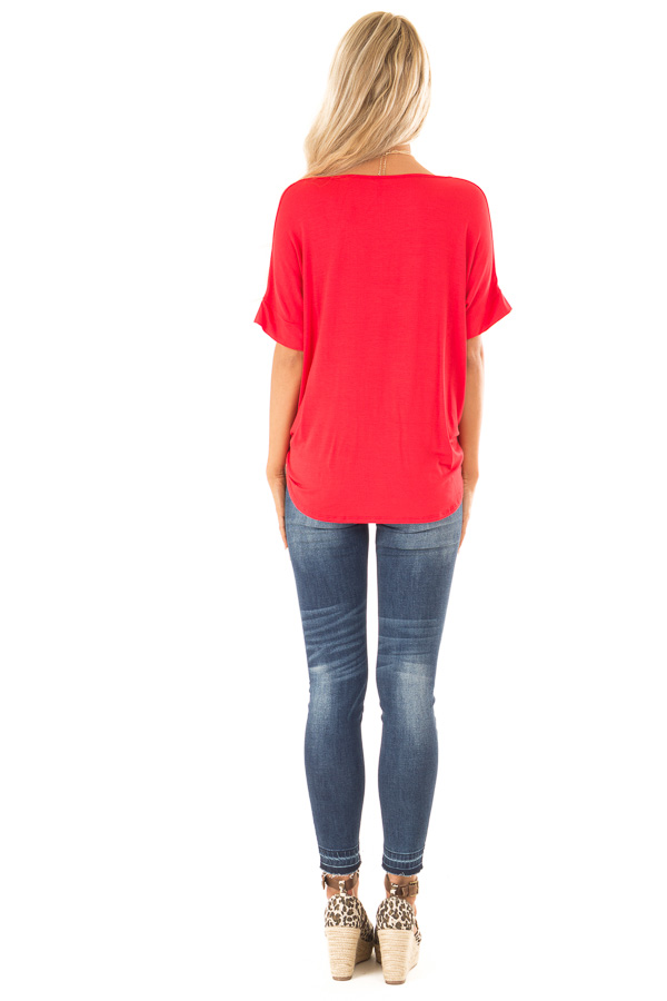 Lipstick Red Surplice Bubble Hem Top with Short Sleeves back full body