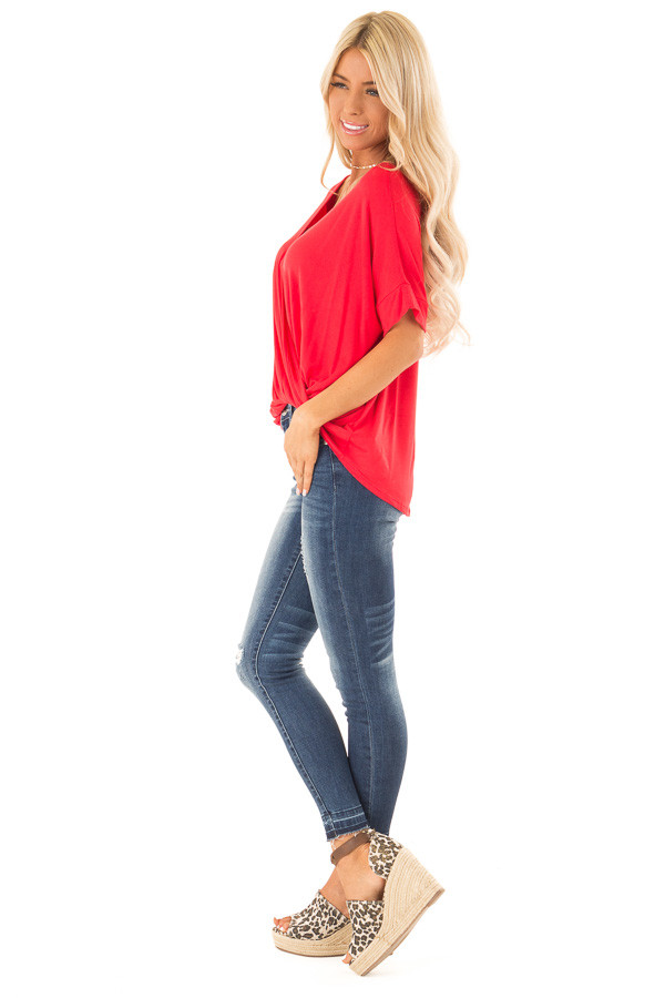 Lipstick Red Surplice Bubble Hem Top with Short Sleeves side full body