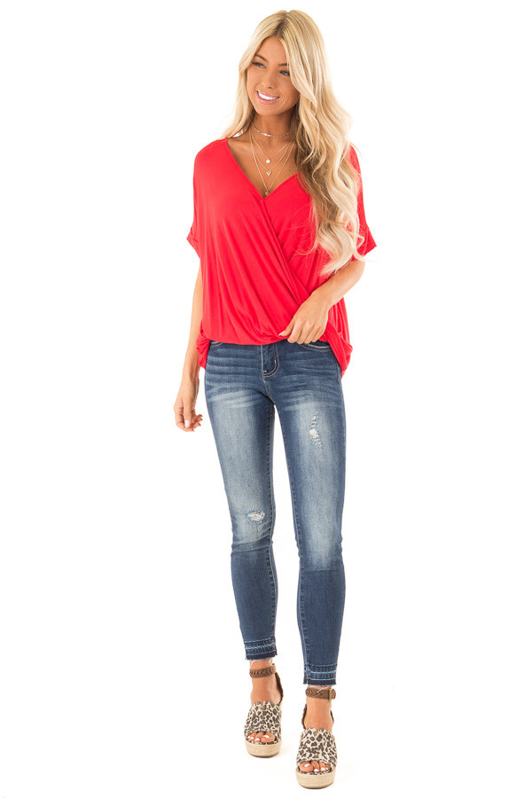 Lipstick Red Surplice Bubble Hem Top with Short Sleeves front full body