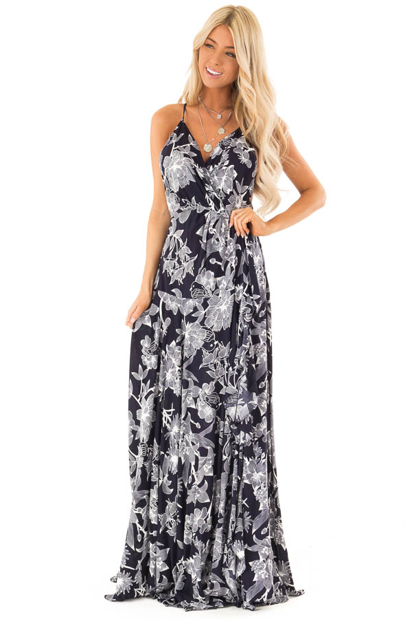 Midnight Navy and Off White Floral Print Maxi Dress front full body
