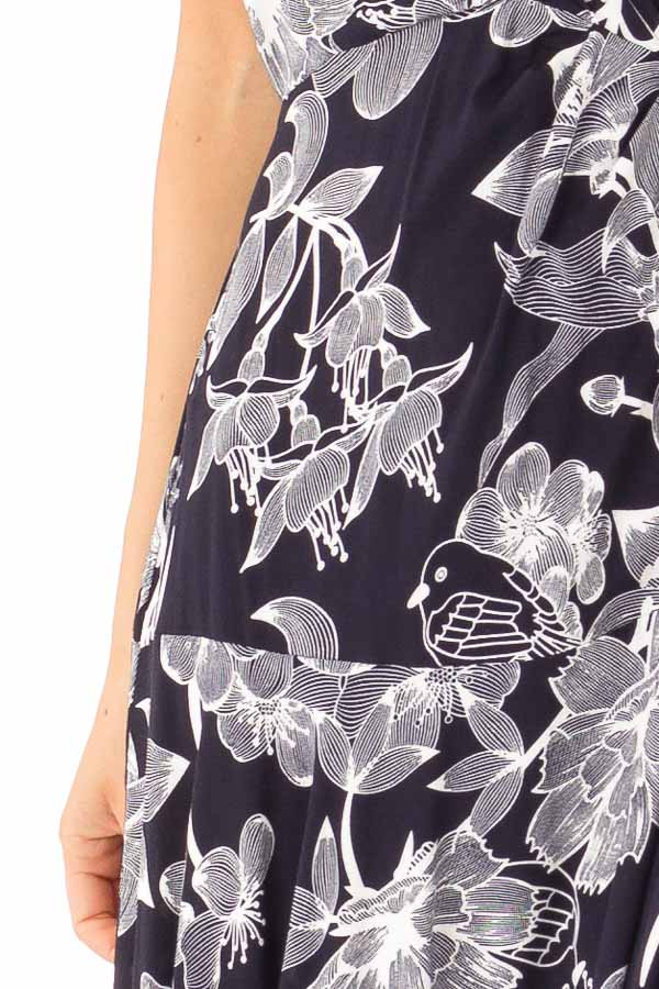 Midnight Navy and Off White Floral Print Maxi Dress detail