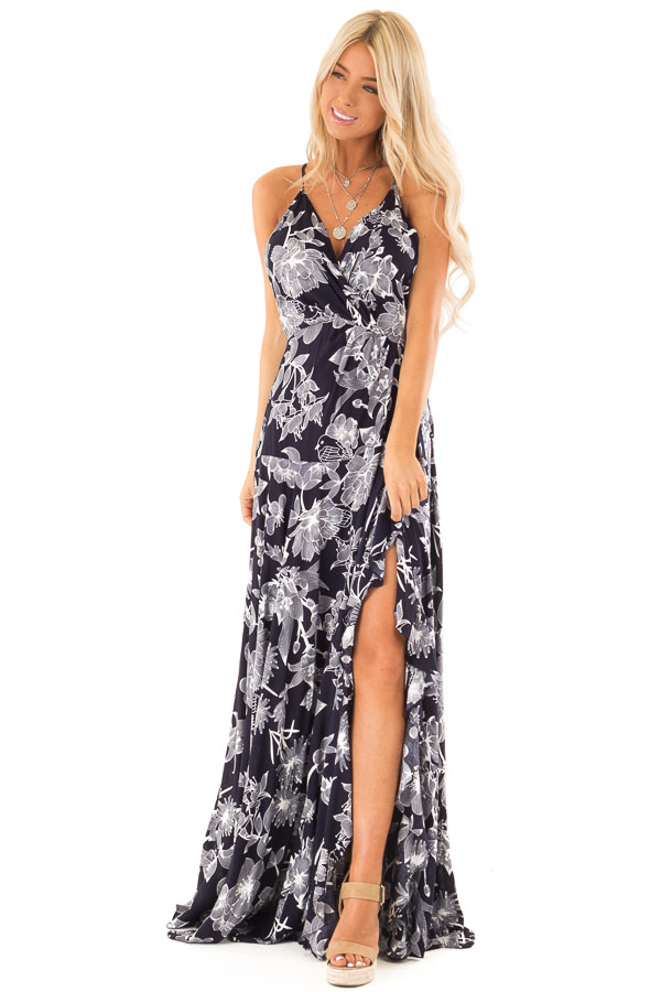 Midnight Navy and Off White Floral Print Maxi Dress front close up