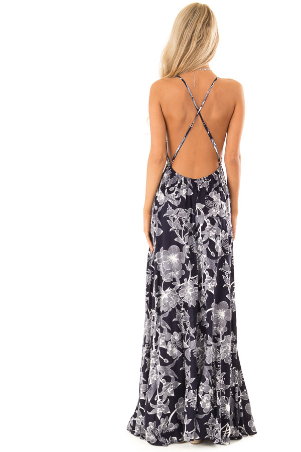 Midnight Navy and Off White Floral Print Maxi Dress back full body