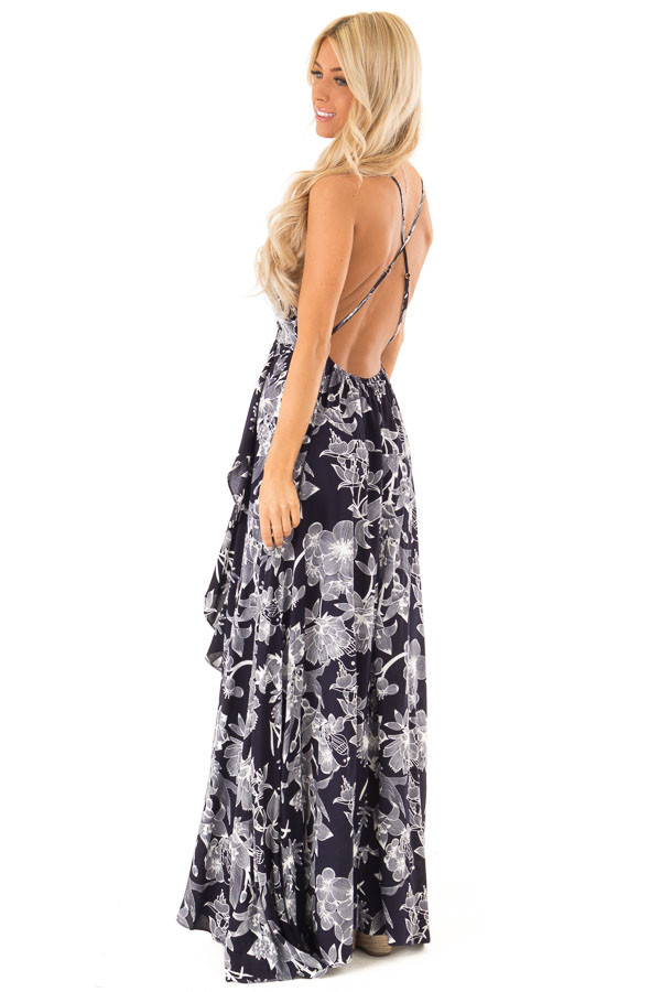 Midnight Navy and Off White Floral Print Maxi Dress side full body