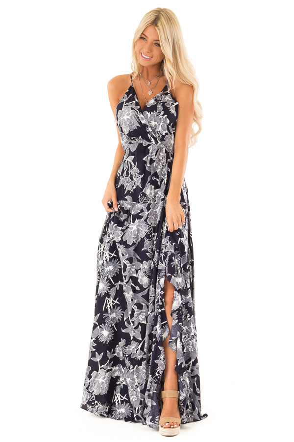 8ca0db52b Midnight Navy and Off White Floral Print Maxi Dress - Lime Lush Boutique