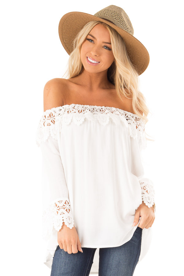 Porcelain Off the Shoulder Peasant Top with Crochet Trim front close up