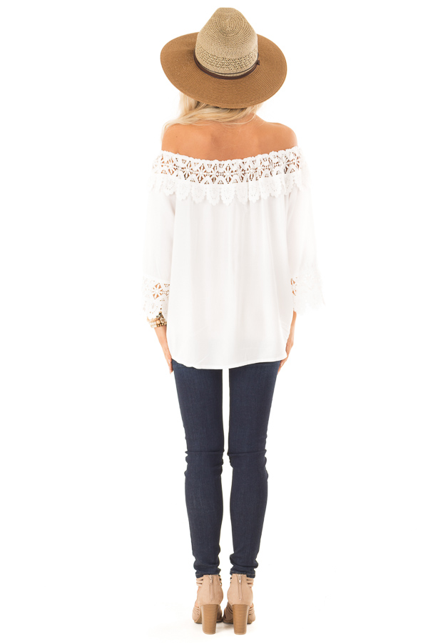 Porcelain Off the Shoulder Peasant Top with Crochet Trim back full body