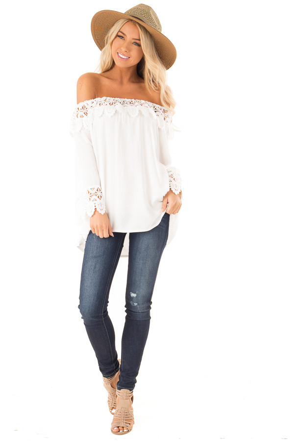 Porcelain Off the Shoulder Peasant Top with Crochet Trim front full body