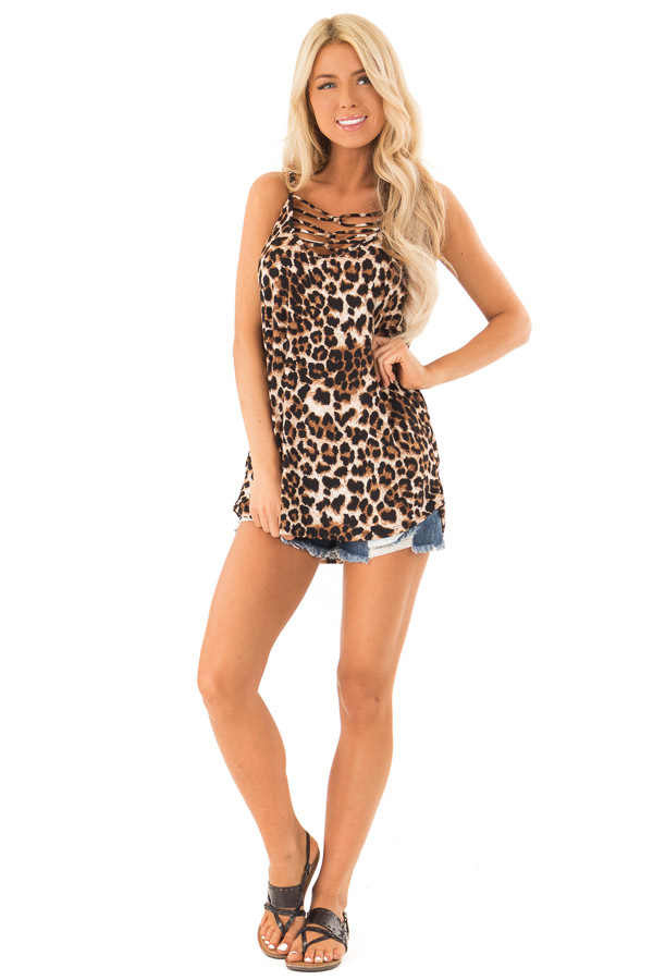 Caramel Leopard Print Tank Top with Caged Neck Detail front full body