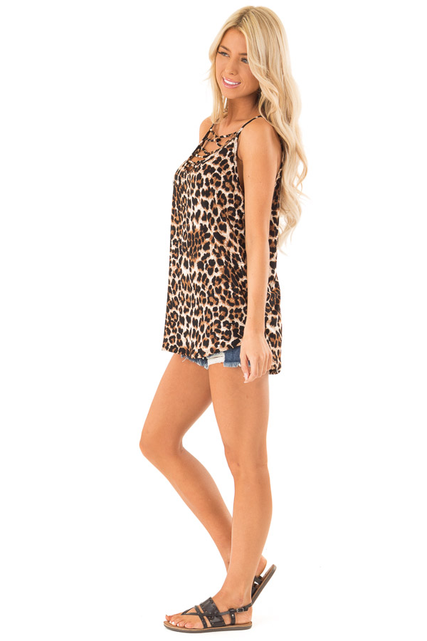 Caramel Leopard Print Tank Top with Caged Neck Detail side full body