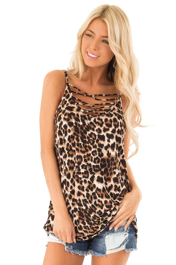 Caramel Leopard Print Tank Top with Caged Neck Detail front close up