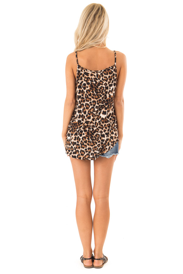 Caramel Leopard Print Tank Top with Caged Neck Detail back full body